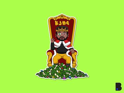 King Sitting on The Chair draw vector character cartoon mascot illustration diamond chair glory rich money man prince king