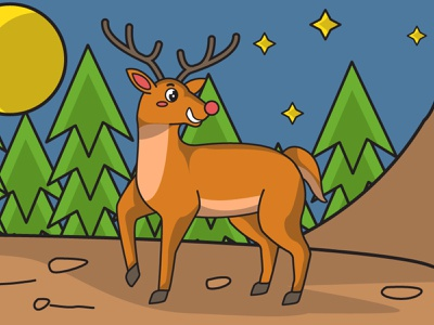 Deer In the Forest children flat cute character cartoon vector illustration tree wild life forest animal deer