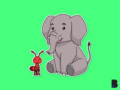 Elephant Ant Illustration design colorful art flat character vector cartoon illustration cute animal elegant elephant