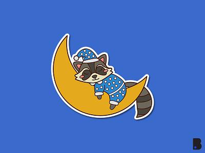 Raccoon sleeping graphic design graphic clean art logo icon minimal flat illustrator vector illustration design