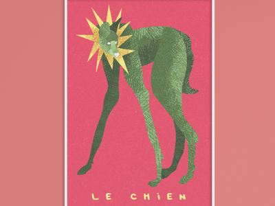 """Le chien"" poster contemporary ecology green pink digital illustration illustration painting drawing dog wolf loup nature animals animal"