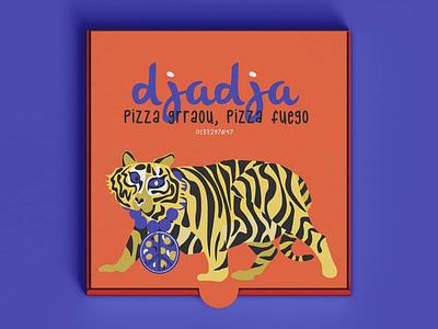 Djadja pizza box pop contemporary design food design branding foodtruck restaurante foodies food animals nature illustration pizza package package packaging pizza tiger animal