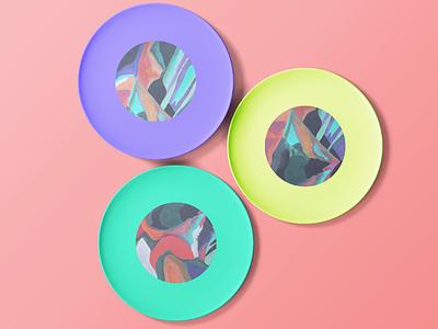 Solar winds plates ceramics abstract print abstract painting gouache plates printed plates