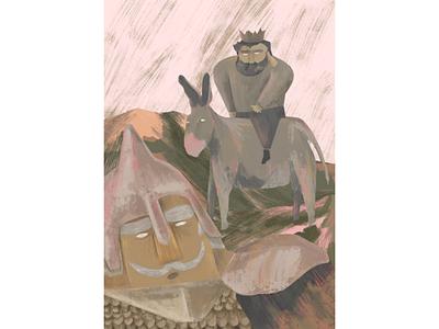Sancho Panza, Rucio and Don Quichotte in Three Kings 🌟 three kings don quichotte illustration