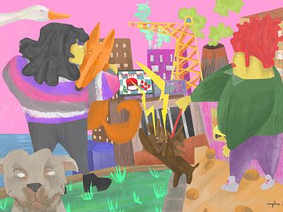 Terror in the port of Nogent dogs digital illustration illustration