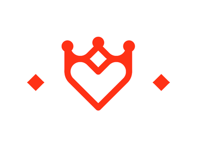 Kingdom of Heart, crown + heart, dating logo design symbol app apps website portal premium queen king relationship for sale brand identity branding creative flat 2d geometric vector icon mark symbol logo design logo educated singles monarchy romance dating love heart kingdom