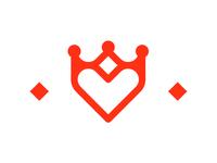 Kingdom of Heart, crown + heart, dating logo design symbol