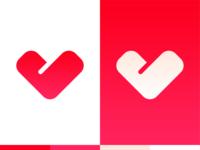 Love, Valentine. L + V + heart monogram / logo symbol