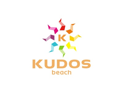 Kudos Beach logo redesign / refresh 2013 sun beach bar logo designer logo design tech-house techno party clubbing minimal electronic music house colorful design creative symbol brand identity logo terrace