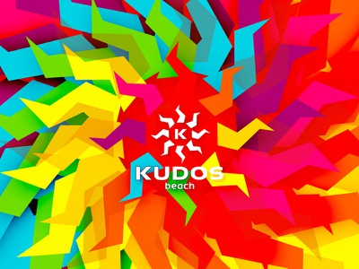 Kudos Beach logo redesign / refresh sun beach bar club terrace logo identity brand symbol creative design colorful house music electronic minimal clubbing party techno tech-house logo design