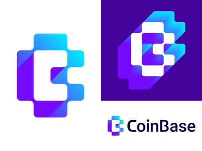 CoinBase logo design: CB negative space monogram vector icon mark symbol network nodes negative space logo design logo letter mark monogram flat 2d geometric fintech finance financial digital currency cryptocurrency crypto creative c brand identity branding blocks blockchain block chain bitcoin coins money bc cb b