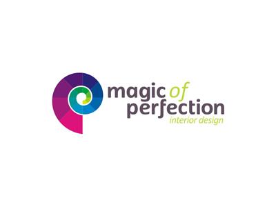 Magic of Perfection interior design studio logo design creative colorful logo design logo design logo designer logotype type typography typographic brand identity branding custom made custom symbol construction evolution spiral staircase interior design sea snail monogram p