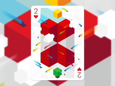 2 of Hearts for #playingartschallenge the Future logo designer graphic designer geometric fun vector digital 2 hearts heart graphic design isometric illustration play card playing cards future playingartschallenge playingarts playing arts