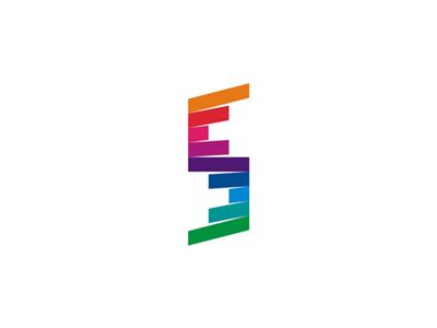 Flipped colorful s monogram logo design symbol by alex tass