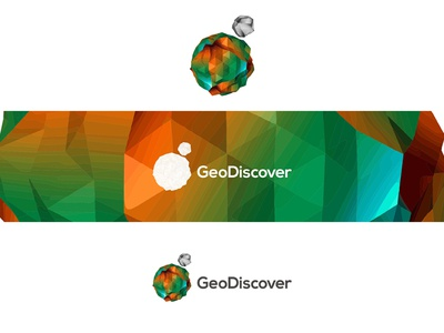 GeoDiscover logo design sphere low poly planet 3d gis it geographic information systems triangulated irregular networks logo logo design earth geography