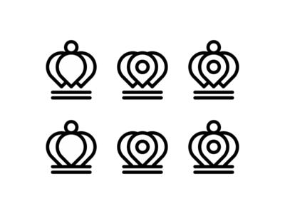 Pin pointer + crown, logo symbol / icon exploration app apps website portal heart hearts line art logomark brand identity branding creative flat 2d geometric vector icon mark symbol logo design logo google maps pointers pin pointer map location queen king kingdom crowns crown