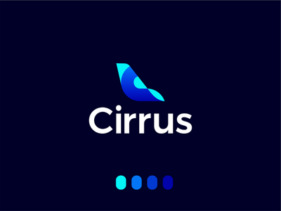 Cirrus, logo design for flights ticketing ai data commercial tail airplane bi rm revenue management logomark logo design logo deep learning business intelligence artificial intelligence ai ticketing tickets pricing flights aviation airlines