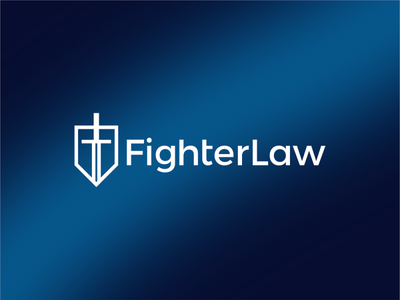 Fighter Law, law firm logo: FL monogram, shield, sword, helmet medieval firm law office fighter knight helmet sword shield crest logo logo design logo designer armor lawyer lawyers legal adviser consultancy consultant