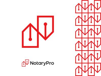 NotaryPro logo design: pen tips forming N letter bureau firm law writing deals notary public logo designer logo design logo monogram letter mark legal notary metal nib ink pen stylus pen fountain pen