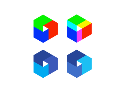 Modular PLAY icon, logo explorations for multimedia project logo play