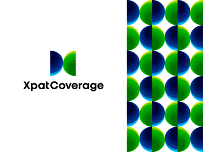 Xpat Coverage logo: X + C letters + globe sides earth planet branding logo designer people corporate pattern logo design logo monogram letter mark c x coverage expats expatriates insurtech insurance medical global globe