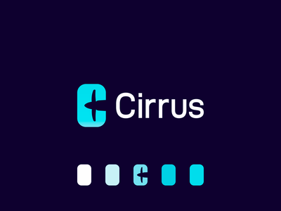 Cirrus ai logo: C letter + airplane propeller in negative space fly flight booking ticketing tickets flights negative space ai ar cirrus aviation airplane plane logo letter mark monogram logomark logo design window deep learning