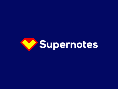 Supernotes logo: Superman diamond + folded note superheroes superhero checkmark digital exchange create collaboration podcasts logodesigner logomark logo design logo note paper folded diamond superman notes super supernotes