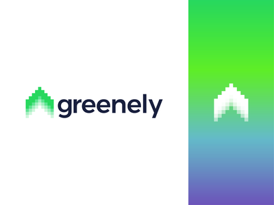 Greenely, smart electricity logo: house, northern lights, arrow arrow charging automation consumption logomark symbol icon logo design logo digital scandinavia sweden homes houses electricity smart home house aurora borealis northern lights