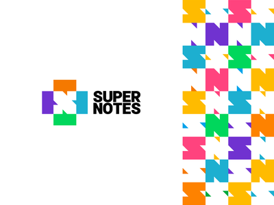Super Notes logo: S + N letters in negative space + chat boxes a l e x t a s s l o g o d s g n b c f h i j k m p q r u v w y z letter mark monogram s corporate pattern podcast exchange create logomark logo design logo box chat bubble speech negative space n collaboration notes super