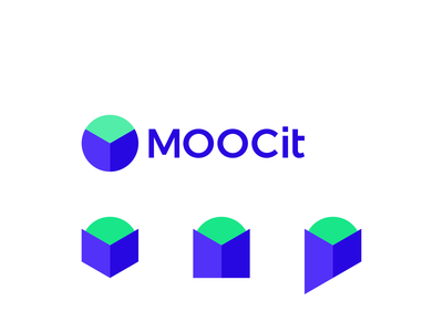 MOOCit, online learning logo design: M, open book, globe, person m globe book open online course e-learning elearning logo designer digital courses corporate pattern logomark letter mark monogram app software education logo design logo