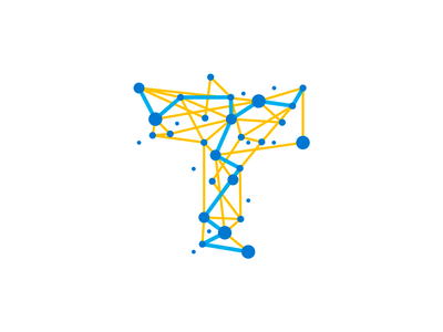 T - Travel, trace, nodes, network, letter mark, logo symbol collaborate collaboration connection connections connected iot monogram letter mark travelling traveling travel icon logomark logo design logo nomad path digital network nodes tracing trace t
