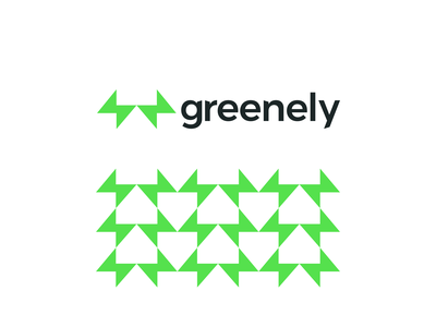 Greenely logo: green energy, smart homes, bolts forming house pattern corporate consumption charging automation lightning lighting bolts bolt negative space logomark logo design logo house home houses homes smart energy green