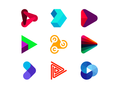 Play icons / logo design symbols collection, vol. 2 icon symbol mark logomark fun music video audio multimedia entertainment media platform forward arrow marketing game games gaming tech technology play logo design logo