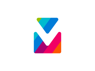 viaMail / via Mail, V M double monogram, logo design symbol icon saas app logo icon a l e x t a s s l o g o d s g n b c f h i j k m p q r u v w y z letter mark monogram negative space colorful stripes paths mail email e-mail online digital studio agency communication logo design logomark double mail via mv m v