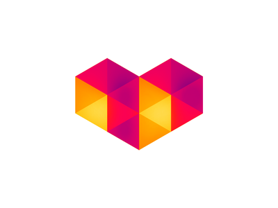 Geometric heart for digital love, logo design symbol icon youtube gaming low poly polygons arrows colorful gradients gradient minimalist minimal geometry abstract logomark icon logo designer logo design logo marketing love heart digital