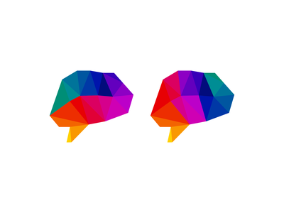 Creative brain. LEFT or RIGHT? innovation technology tech medical research data icon logo design logo psychology artificial intelligence ai intelligence chat box head thinking think mind colorful brain creative
