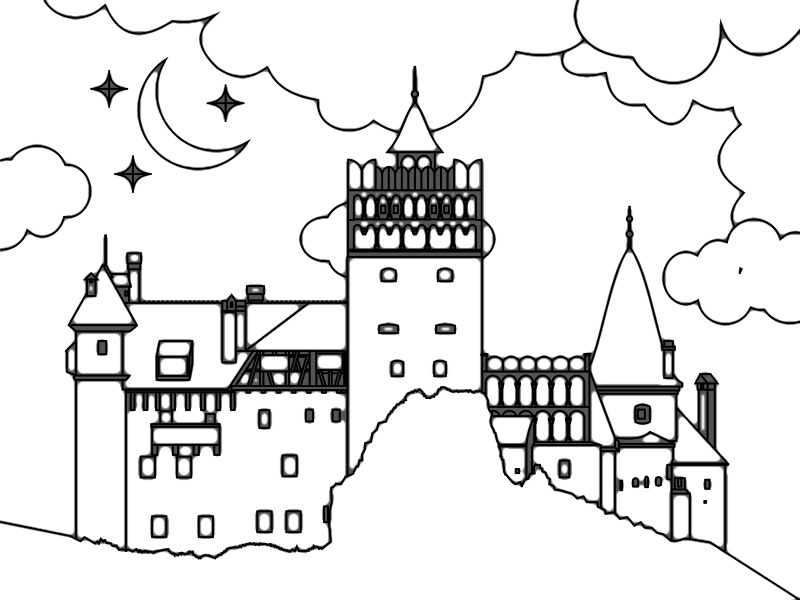 dracula castle illustration by alex tass logo designer