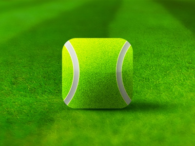 Tennis ball icon design sport sports square ball icon illustration icons realistic tennis logo app app apps applications grass court
