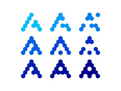 Letter A + blocks / modules / network logo design symbol blockchain modular connected connection monogram letter mark a icon logomark logo design logo nodes modules blocks network construction constructing construct building build