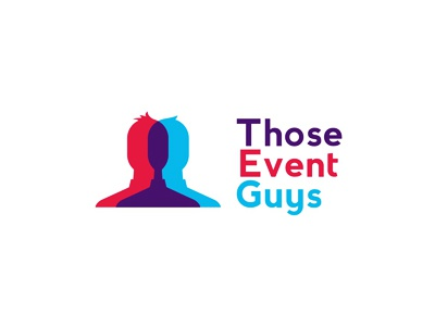 Those Event Guys logo design characters fun party events organizers weddings corporate logo logo design negative space microphone planning planners