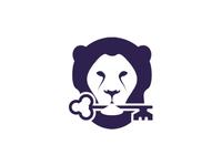 Lion holding key, logo design symbol