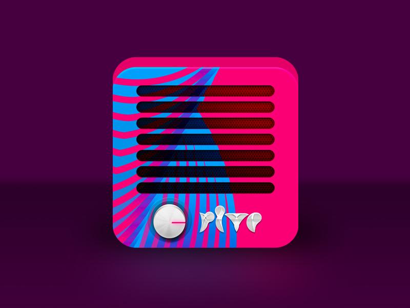 Rive Radio app icon design modern retro icon iphone android illustration ios music radio app logo logo design