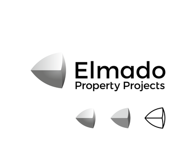Elmado, property development firm logo: E letter + gomboc shape a l e x t a s s l o g o d s g n b c f h i j k m p q r u v w y z e logo designer construction management investment advisory services commercial industrial retail property development firm geometry geometric logomark logo design logo letter mark monogram equilibrium convex three-dimensional gomboc hub office real estate projects property