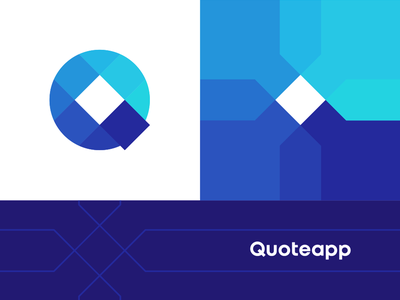 Quoteapp Q letter mark monogram logo + corporate pattern coin cost costs digital money transaction budget pricing prices branding identity design corporate pattern logo design logo q monogram letter mark connections node network defi saas