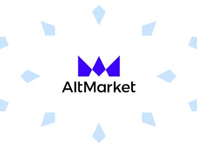 AltMarket crypto market logo: AM monogram + finance chart graph a l e x t a s s l o g o d s g n b c f h i j k m p q r u v w y z ethereum bitcoin tech fintech finance chart graph cryptocurrency digital currency crypto exchange monogram letter mark m a icon logomark logo design logo crypto market altcoin