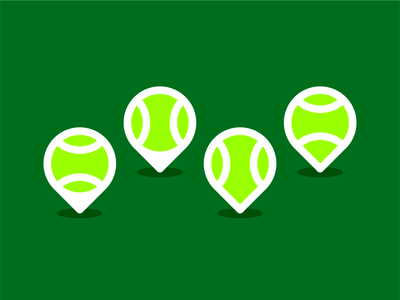 Tennis ball + map pin pointer, logo design symbol icon finder places place locations location player wimbledon icon logomark logo design logo pointer pin map google sports sport court ball tennis