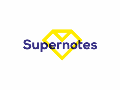 Supernotes logo design: Superman diamond + folded note supernotes super notes superman diamond folded paper note logo logo design logomark logodesigner podcasts collaboration create exchange digital checkmark superheroes superhero
