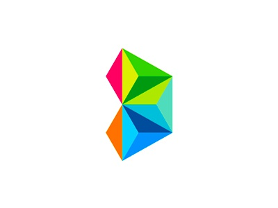 D monogram / rocket logo design symbol letter mark monogram d games gaming company development studio logo logo design abstract geometric play low poly colorful