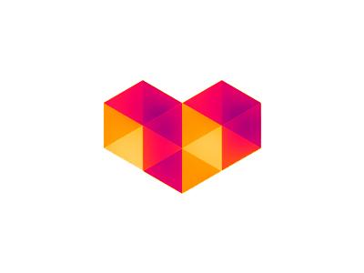 Digital Love logo design symbol digital love heart geometric abstract geometry polygons low poly symmetric logo logo design symbol