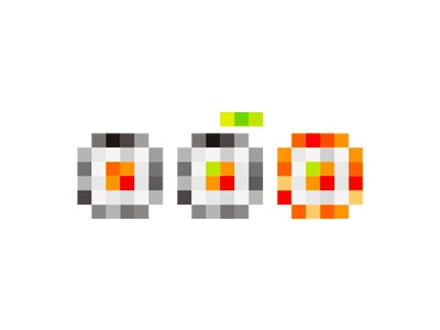 Digital sushi icon symbol logo design by alex tass